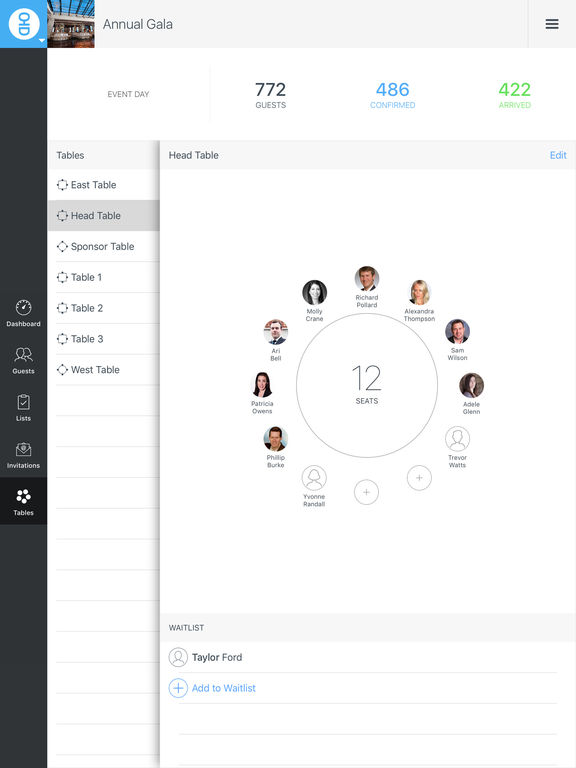 Diobox All-in-One Event Planner: Guest Lists, Check-In, RSVPs, Tables, Guest History with built-in CRM screenshot