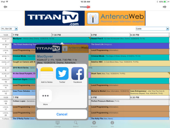 TitanTV for iPhone iPad Screenshot 3