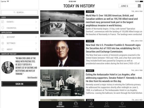 Today In History iPad Screenshot 1