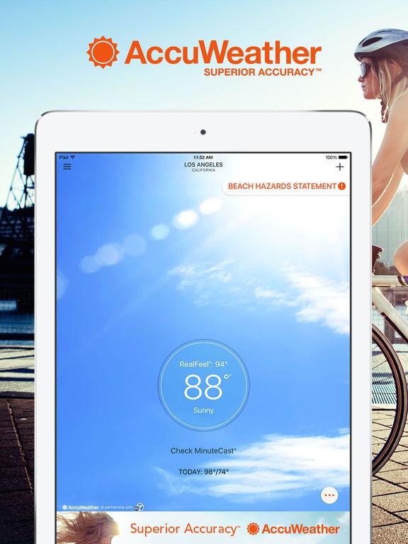 Screenshots of AccuWeather for iPad