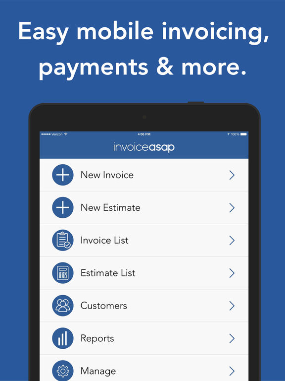 Invoice ASAP, Mobile Invoicing and Estimates - works with PayPal, QuickBooks, Square & Xero screenshot