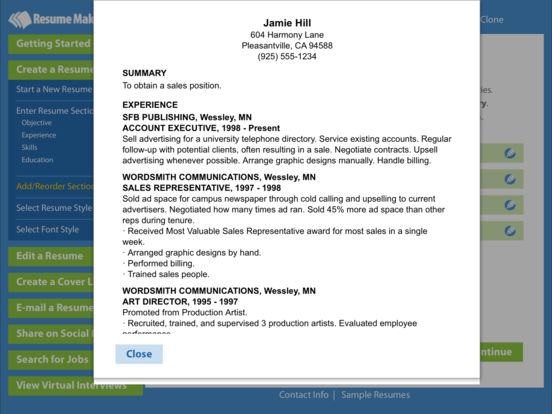 Resume Maker® Platinum Screenshots