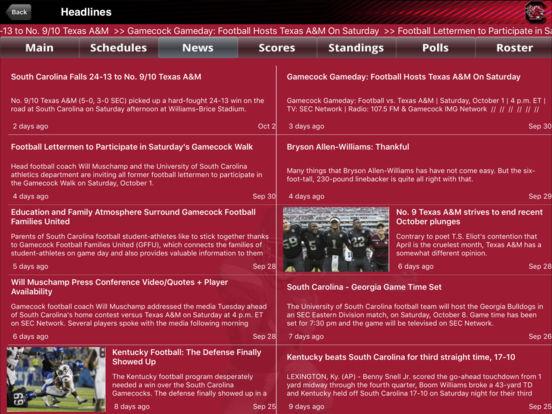 South Carolina College SuperFans iPad Screenshot 2