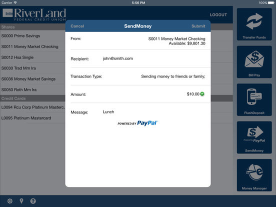 RiverLand Credit Union Mobile iPad Screenshot 4