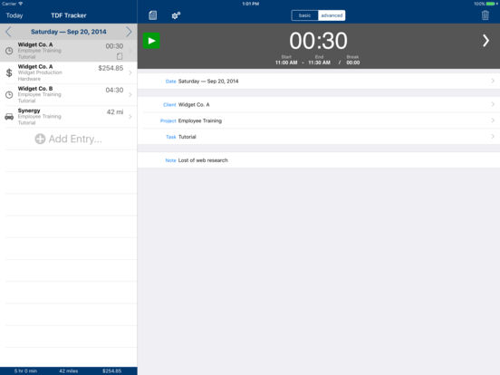TDF Tracker – Time, Expense and Mileage Tracking iPad Screenshot 2