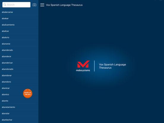 Vox Spanish Language Thesaurus iPad Screenshot 1