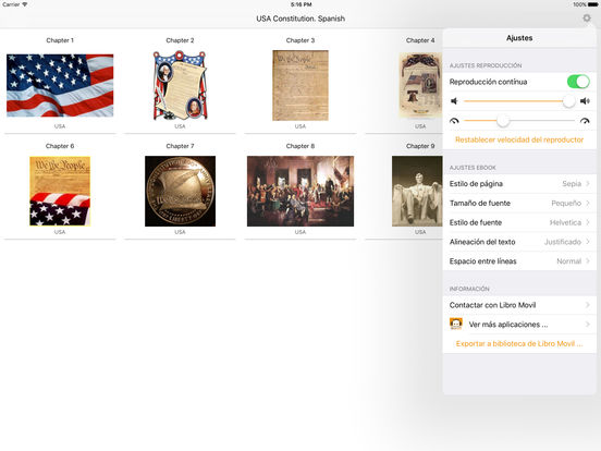 USA Constitution. Spanish Audiobook iPad Screenshot 1