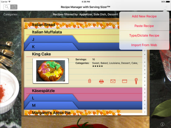 Serving Sizer Pro Recipe Cards for iPad - your recipes, organized for cooking iPad Screenshot 1