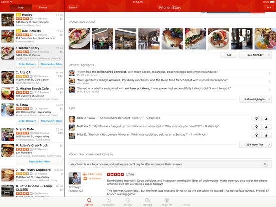 Screenshots of Yelp for iPad