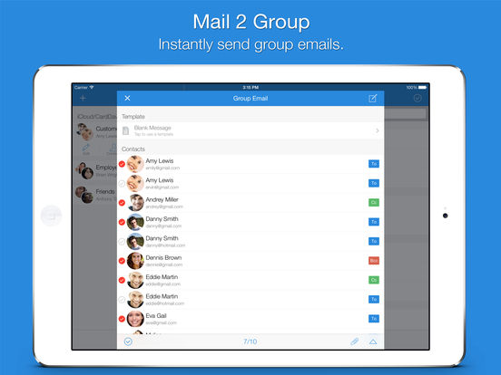 Screenshot #1 for Mail 2 Group - Quickly Email Your Contacts