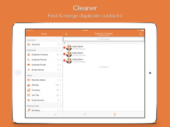 Screenshot #1 for Cleaner Pro - Remove Duplicate Contacts