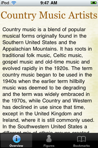 Country Music Artists Pocket Book screenshot #1