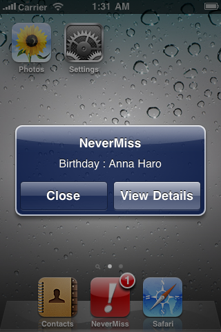 Never miss : birthdays,anniversaries and dates (With Push) screenshot #1