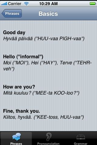 iTrek! - Finnish Phrasebook screenshot #2