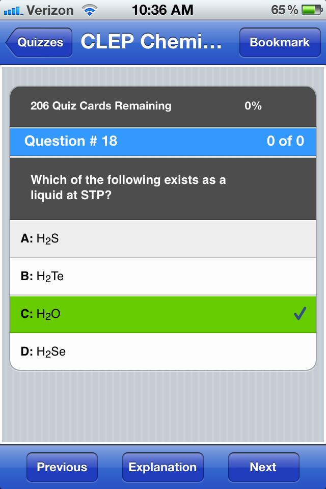 CLEP Chemistry screenshot 3