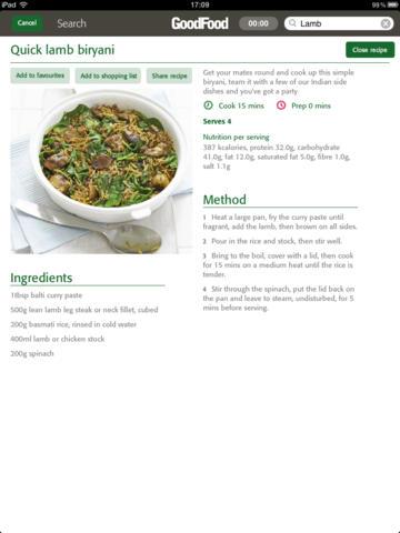 Good Food Quick Recipes for iPad screenshot 2