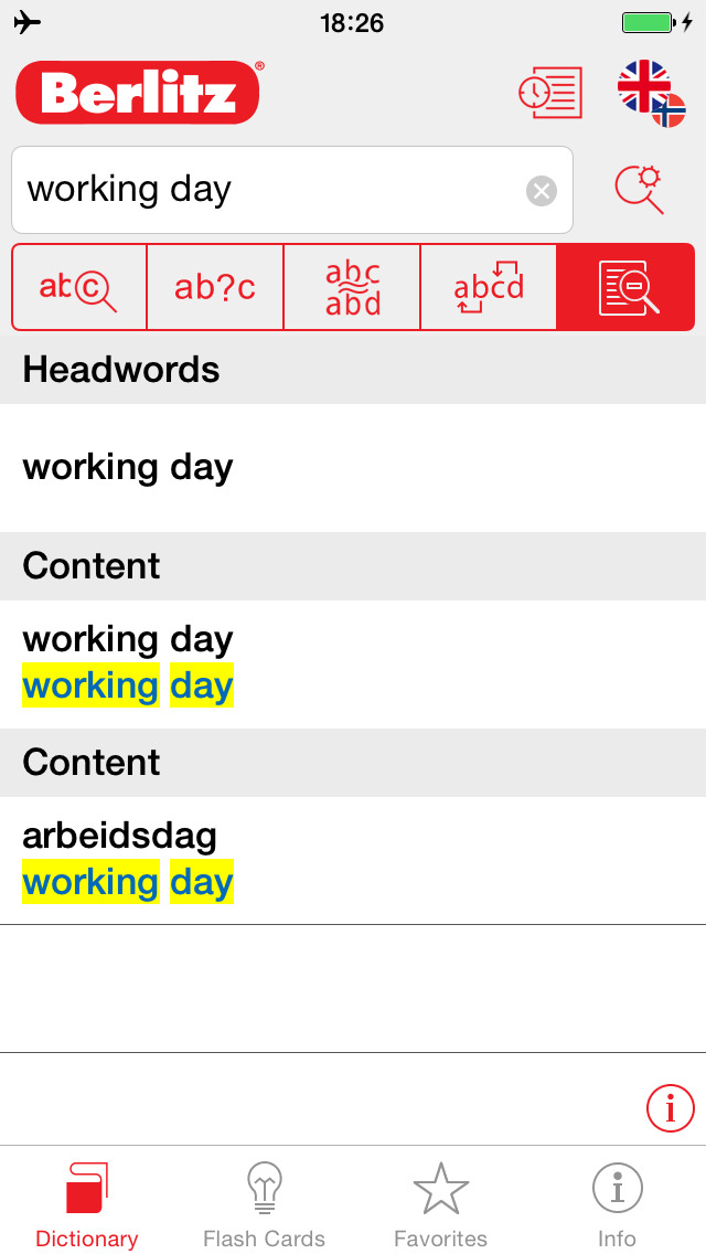Norwegian - English Berlitz Essential Dictionary screenshot 2