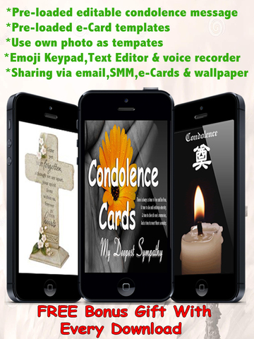 Best Condolence Cards with Emoji Keypad.Customise and send condolence cards with sympathy text,voice messages and emoticons screenshot 6