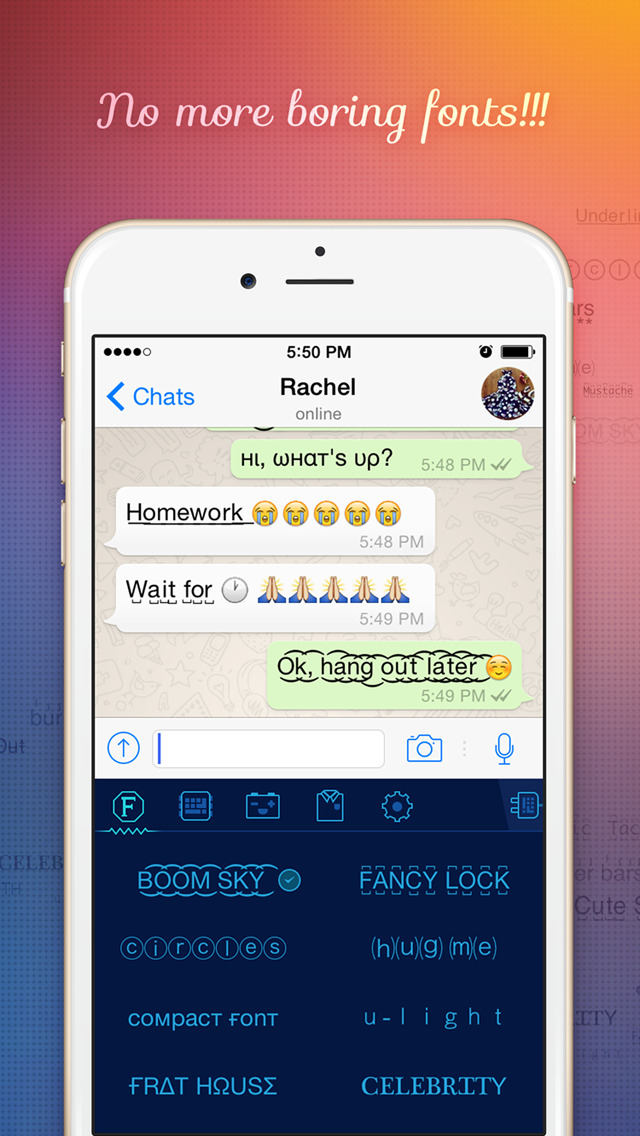 FancyKey - Customize your keyboard with cool Fonts, colorful Themes and beautiful Emoji Art screenshot 2