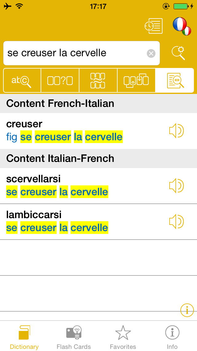 French <-> Italian Talking Dictionary Global Mondadori Langenscheidt screenshot 3