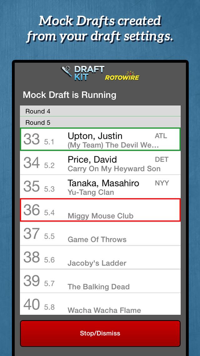 RotoWire Fantasy Baseball Draft Kit 2015 screenshot 2