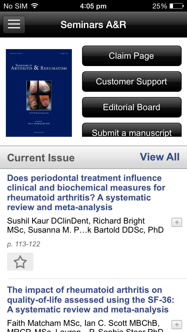 Seminars in Arthritis and Rheumatism screenshot 3