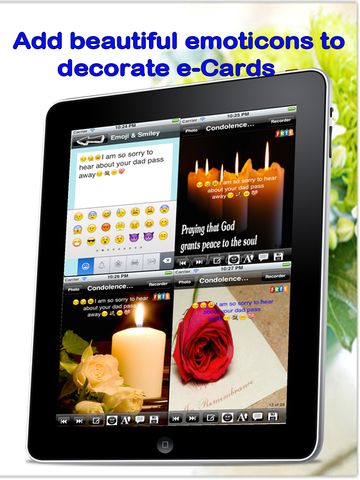 Best Condolence Cards with Emoji Keypad.Customise and send condolence cards with sympathy text,voice messages and emoticons screenshot 9