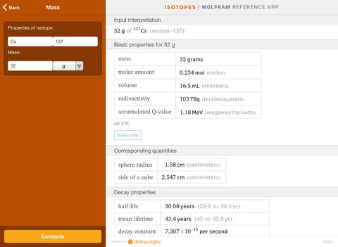 Wolfram Isotopes Reference App screenshot 10