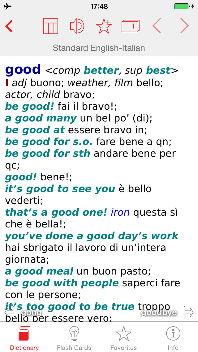 Italian - English Berlitz Standard Talking Dictionary screenshot 1