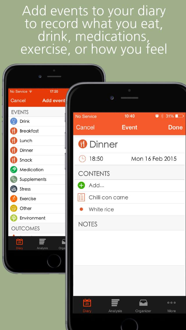 mySymptoms Food Diary screenshot 2