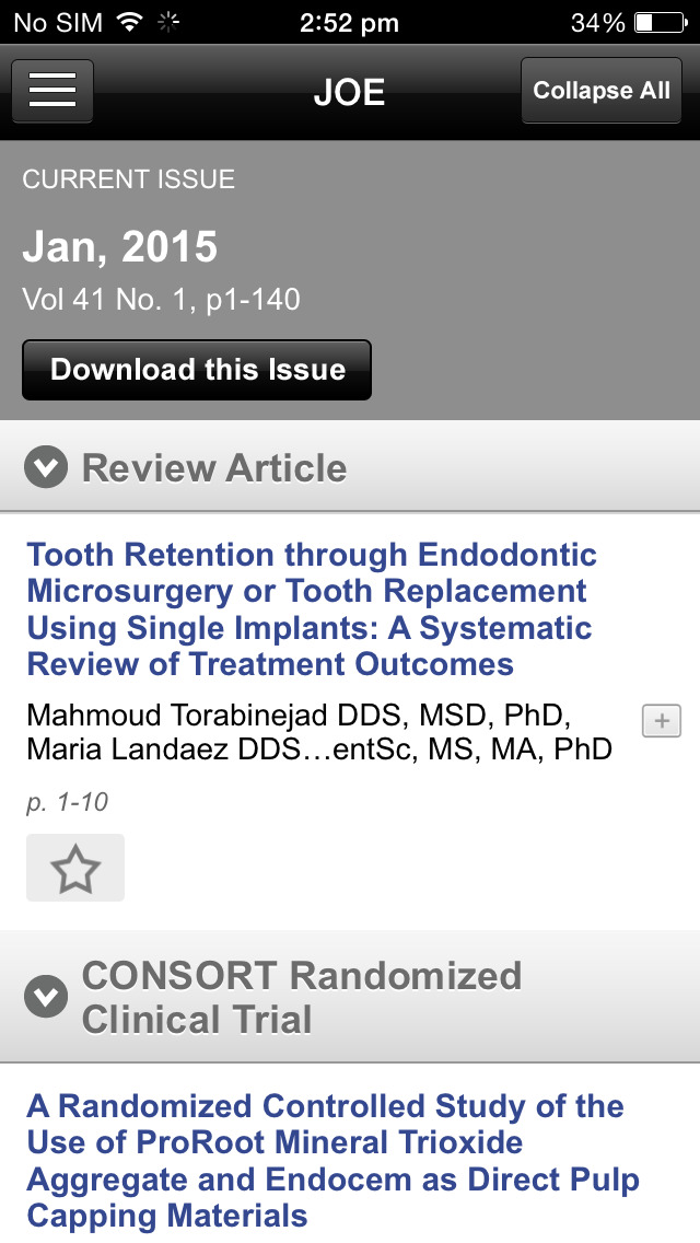 JOE: Journal of Endodontics screenshot 5