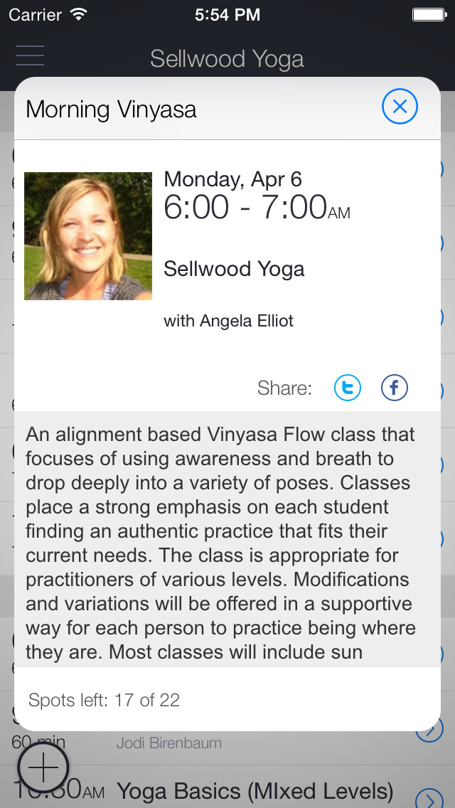 Sellwood Yoga App screenshot 2