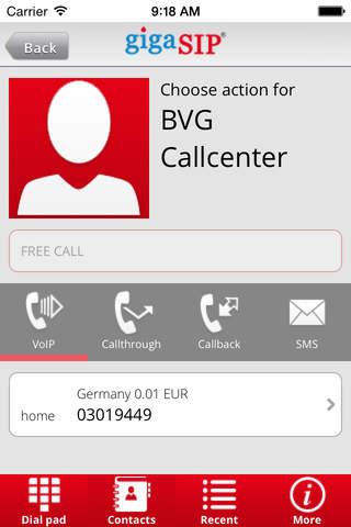 gigaSIP Call - náhled