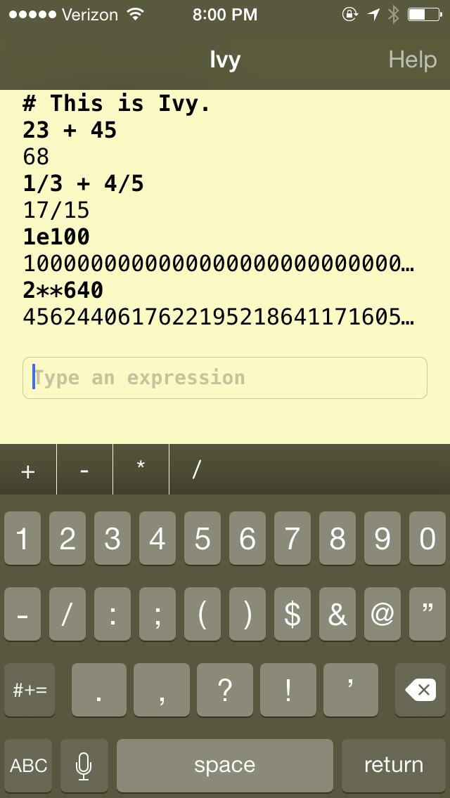 Ivy big number calculator screenshot 1
