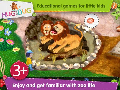 Zoo Explorer -  HugDug animals activity game for little kids. screenshot 1