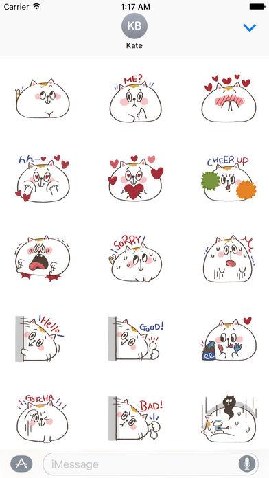Chubby White Cat Emoji Stickers screenshot 1