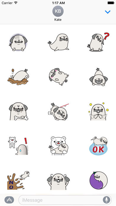 Pug Dog And Sea Dog Sticker screenshot 1
