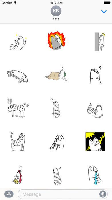 Weird Stickers - Fish Cat screenshot 2