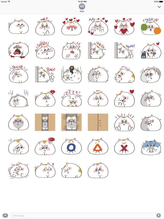 Chubby White Cat Emoji Stickers screenshot 4