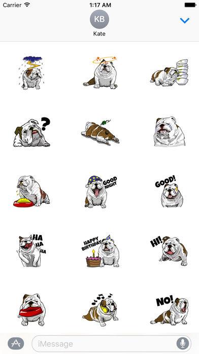 The English Bull Dog Stickers screenshot 1