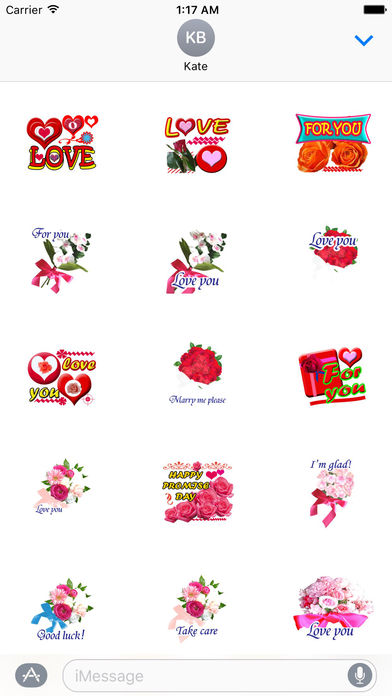 Love Bouquets For Valentine's Day Stickers screenshot 1