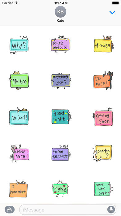 English Message With Cats Sticker screenshot 2