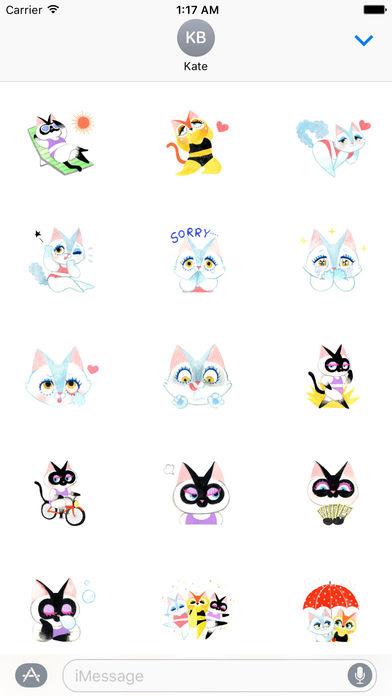 Bikini Cat Sticker screenshot 1