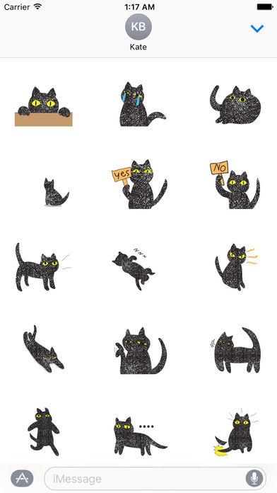 Twinkling Black Cat Sticker screenshot 2