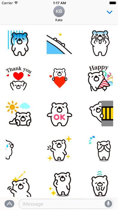 Animated Funny White Bear Stickers screenshot 1