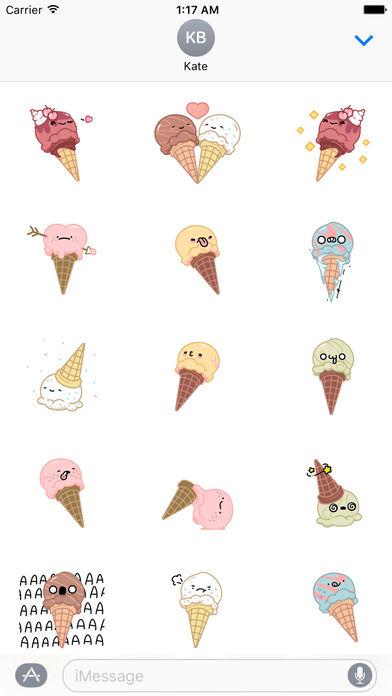 Animated Cool Ice Cream Emoji Stickers screenshot 1