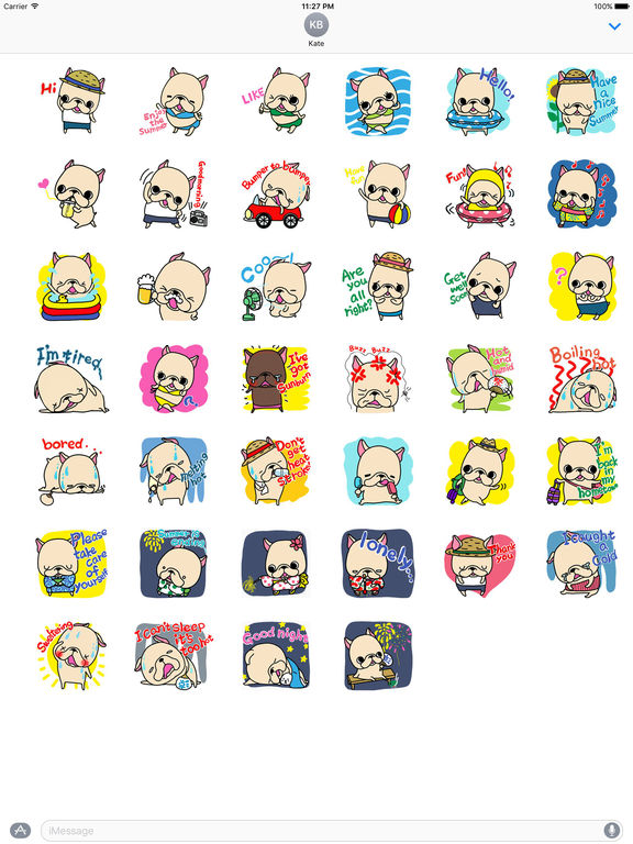 Holiday Summer of Frenchie Dog Sticker screenshot 4