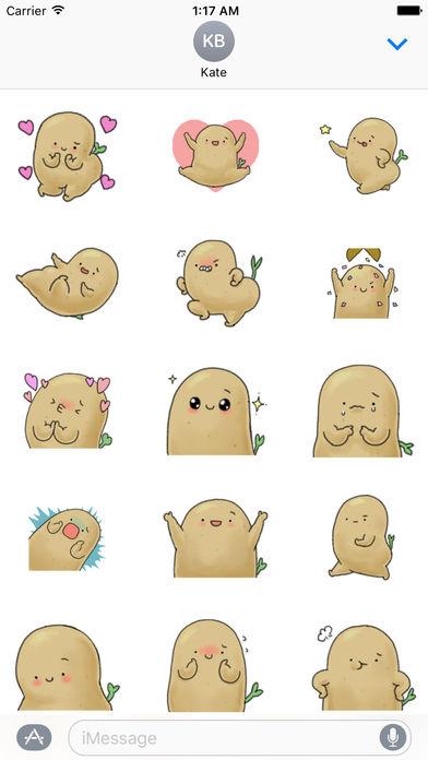 Animation Chubby and Cute Potato Sticker screenshot 1