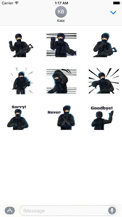 Animated Cute SWAT Sticker screenshot 2