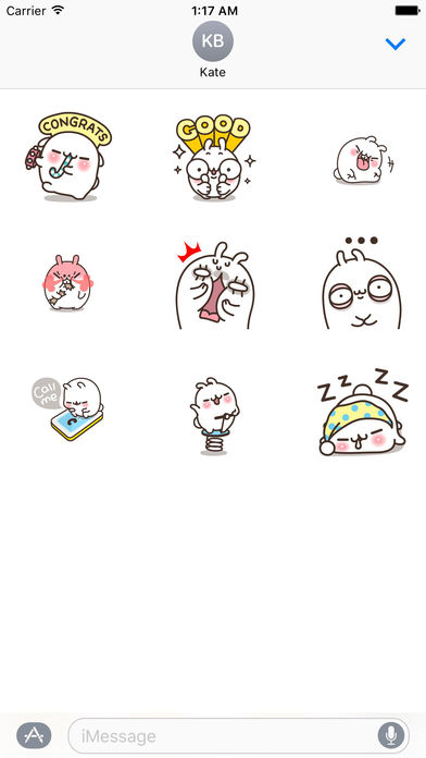 White Bunny Animated Sticker screenshot 2
